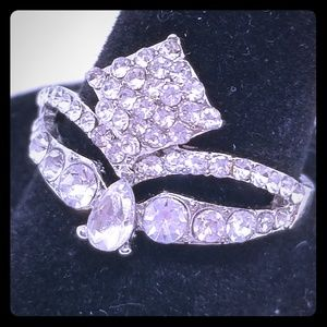 Jewelry - Silver Tone Diamond Shaped Rhinestone Ring sz 8